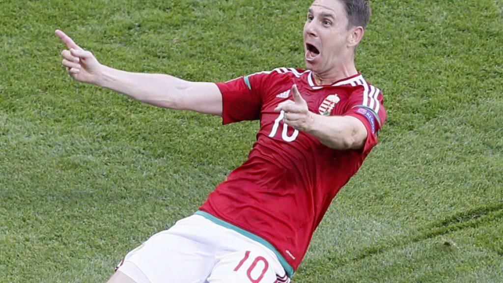 Zoltan Gera jubelt über seinen Treffer zum 1:0 beim spektakulären EM-Gruppenspiel zwischen Ungarn und Portugal