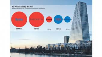 Der Roche-Tower in Basel: Er steht sinnbildlich für die praktisch ungebrochene Wertsteigerung, welche die Basler Pharmabranche seit der Loslösung des Chemiegeschäfts und der Spezialisierung im pharmazeutischen Bereich Mitte der 1990er-Jahre erfährt. Foto:
