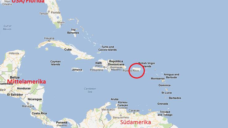 Puerto Rico liegt zwischen der dominikanischen Republik und Südamerika (roter Kreis).