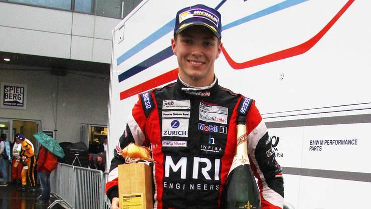 Jeffrey Schmidt bei seinem Debütsieg im Porsche Carrera Cup