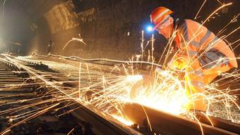 Zugarbeiten im Hauenstein-Basistunnel