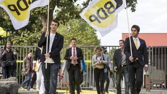 Hoher Besuch in Aarau Bundesrätin Eveline Widmer-Schlumpf auf dem Weg zur Parteiversammlung der BDP in Aarau, am 5. September 2015.
