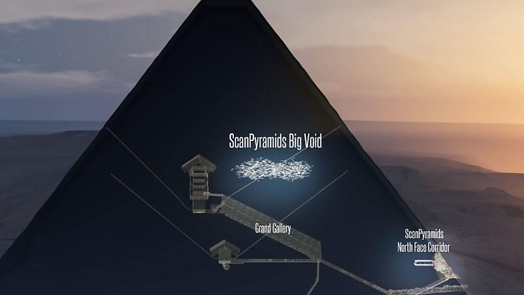 Beim «Durchleuchten» der Grossen Pyramide von Gizeh kamen bereits ein unbekannter Korridor und nun auch ein grosser Hohlraum oberhalb der Galerie zum Vorschein.