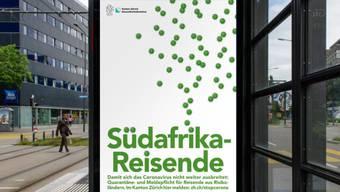 Die Zürcher Gesundheitsdirektion macht Rückkehrer aus Risikogebieten, wie beispielsweise Südafrika, Serbien, Kosovo oder Israel darauf aufmerksam, dass sie sich in Quarantäne begeben müssen. Die i-Punkte symbolisieren das Coronavirus.