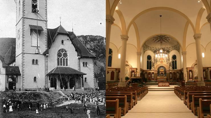 Links: Glockenaufzug mit der Schuljugend am 11. August 1915  /  Rechts: Ein Teil des Innern der Kirche