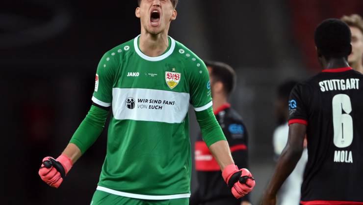 Gregor Kobel und dem VfB Stuttgart ist der Aufstieg in die Bundesliuga kaum mehr zu nehmen