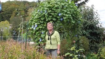 Beim Torbogen mit den blauen Glockenblumen im Garten im Schinznacher Ortsteil Wallbach: Anny Dietikers Passion gilt ihren Blumen.