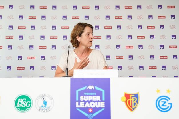 «Wir bauen etwas auf. Aber der Frauenfussball ist noch labil». Direktorin Tatjana Haenni bei der Medienkonferenz.