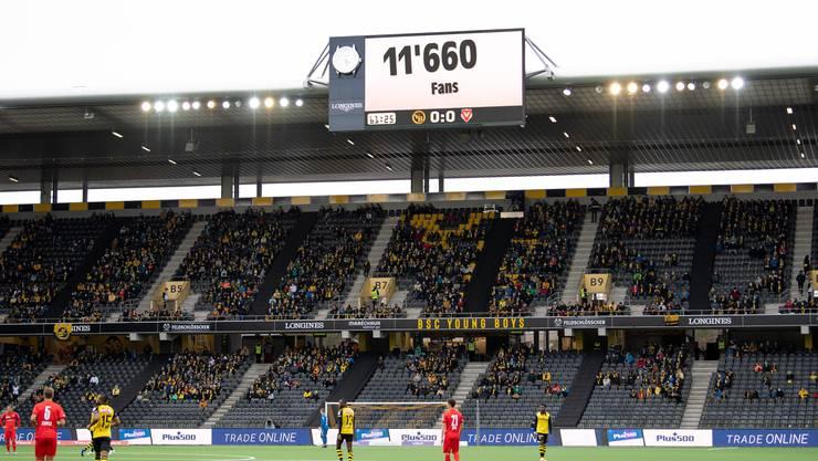 Beim Spiel gegen Vaduz sahen in Bern noch 11600 Zuschauer den 1:0-Sieg von YB. Nun dürfen nur noch 1000 Zuschauer ins Stadion.