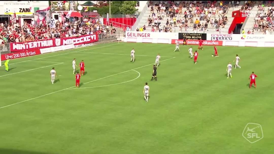Challenge League, 2019/20, 1. Runde, FC Winterthur - FC Aarau, 54. Minute: Pfostenschuss von Davide Callà.