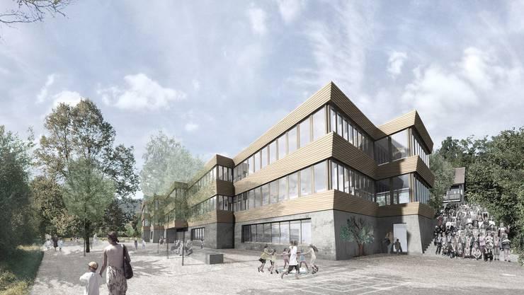 Visualisierung des Schulhauses Haldenacher