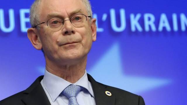 EU-Gipfelchef Herman Van Rompuy vor den Medien in Brüssel