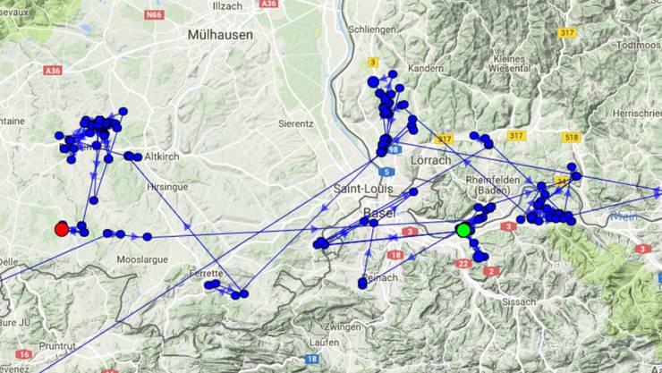 Er hält sich seit Juni im Elsass auf. Der rote Punkt zeigt seinen aktuellen Standort.