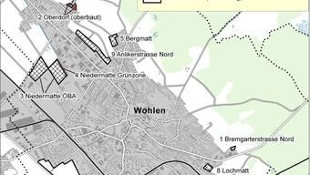 Die Karte zeigt, welche Gebiete in Wohlen mit der Richtplanänderung neu eingezont werden sollten. ZVG