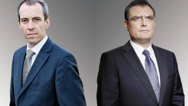 Der Chef der Finanzmarktaufsicht, Patrick Raaflaub (l.), und Nationalbank-Präsident Thomas Jordan sind nicht immer gleicher Meinung. Foto: André Albrecht, Pixsil / Montage: SAS