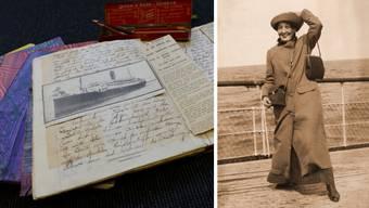 Schön gebundene Tagebücher, mit einem Zeitungsausschnitt über die versenkte «Sussex» (links). 14. April 1914: Clärly Knuchel auf dem Schiff nach England (rechts).