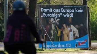Im Bild wirbt die rechtskonservative AfD auf einem Plakat mit migrationskritischen Parolen.
