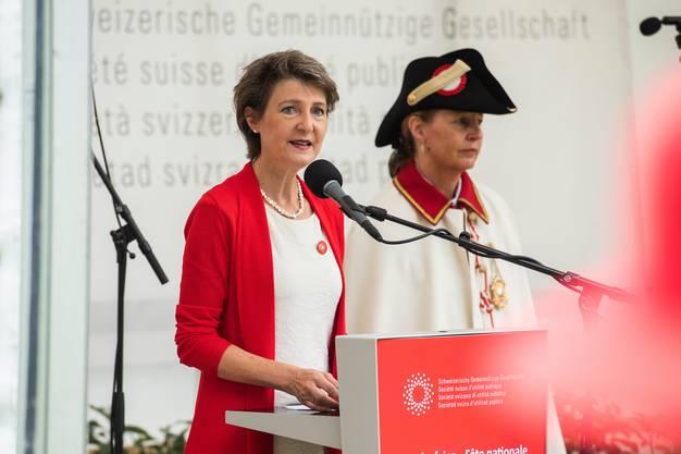 Bundespräsidentin Simonetta Sommaruga lobte in ihrer 1.-August-Rede die Schweizer Bevölkerung für ihr Verhalten im Zusammenhang mit dem Coronavirus.