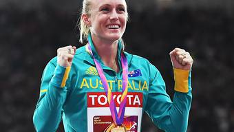 Sally Pearson freut sich über ihr WM-Gold über 100 m Hürden