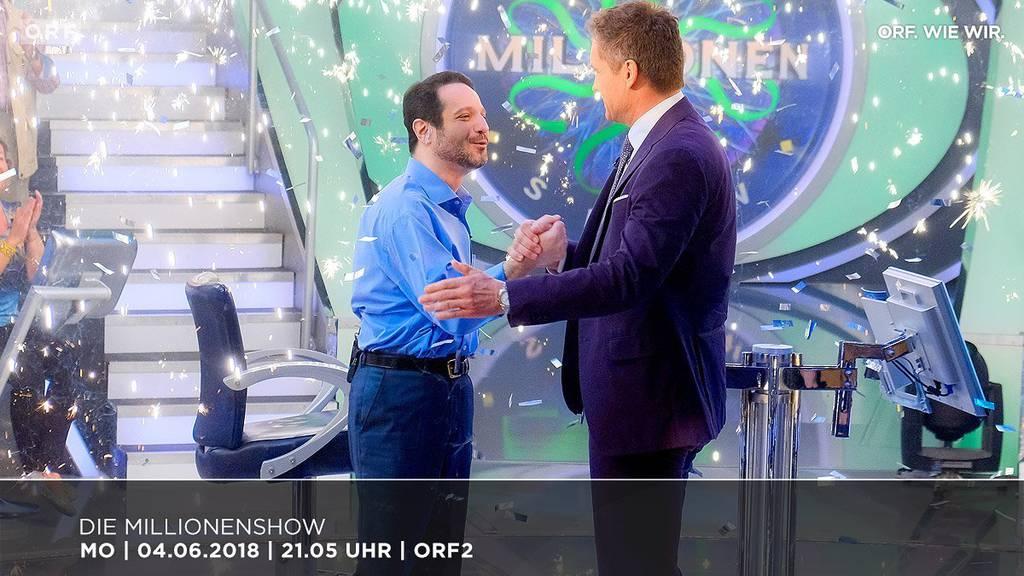 Hooman Vojdani beantwortet bei der ORF-Millionenshow die letze Frage richtig.