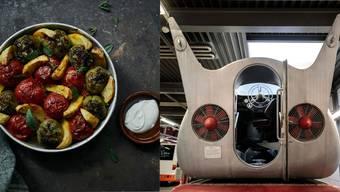 Links: Eine Speise aus dem Kochbuch. Rechts: der Wolkenprojektor von hinten gesehen.