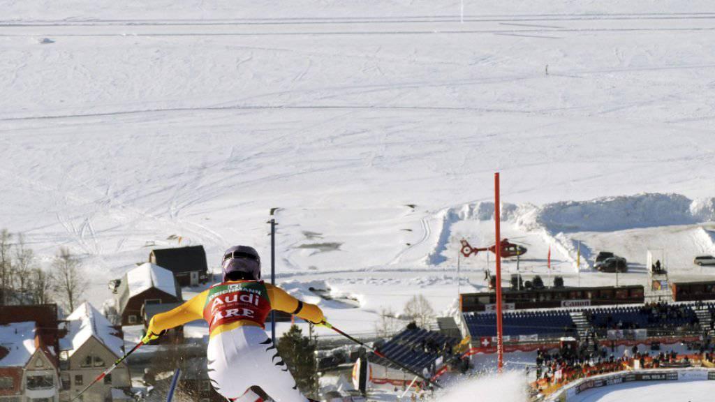 Der Zielraum in der schwedischen Skistation Are - im Hintergrund der gefrorene See (Archivbild)
