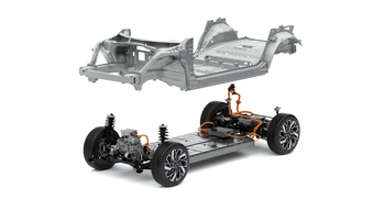 Die neue E-GMP-Plattform von Hyundai. Autos mit bis zu fünf Metern Länge sind darauf möglich.