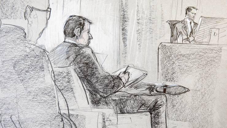 Der angeklagte Reeder Hans-Jürg Grunder in einer Gerichtszeichnung.