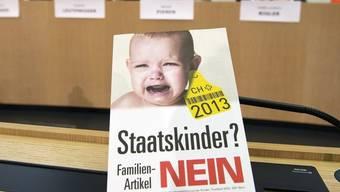 Gegner des Familienartikels bei einer Medienkonferenz in Bern.
