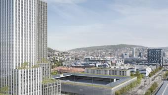 Das Hardturm-Ensemble: Hochhäuser, Stadion und Genossenschaftssiedlung.