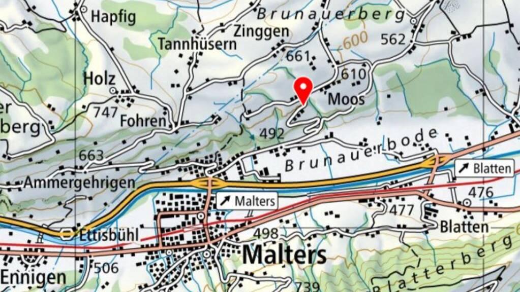 Der Erdrutsch ereignete sich in steilem Gelände zwischen Malters und Hellbühl LU.