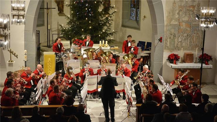 Die Brass Band Matzendorf am letzten Weihnachtskonzert.
