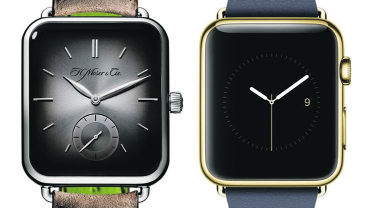 Uhrenvergleich: Die Swiss Alp Watch von H. Moser & Cie. (links) und die Apple Watch.