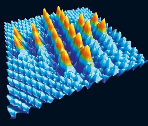 Das kleinste Kreuz Mithilfe der Spitze eines Rasterkraftmikroskops wurden bei Raumtemperatur 20 Brom-Atome auf einer Natriumchlorid-Oberfläche platziert und so ein Kreuz mit der Seitenlänge von 5,6 Nanometer kreiert.