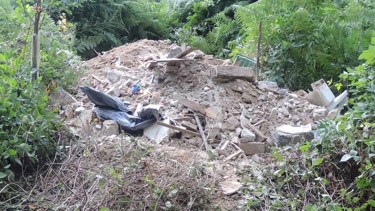 Sechs bis acht Kubikmeter Bauschutt stellte die Polizei vor Ort fest.