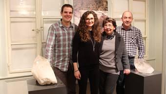 Die Protagonisten der Schweizer Bergkristall-Ausstellung strahlen um die Wette: (v.l.) Elio Müller, Jelena Brkic, Ursula Rüesch und Markus Uebelhart.