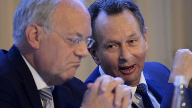 FDP-Präsident Müller (r.) und Bundesrat Schneider-Ammann