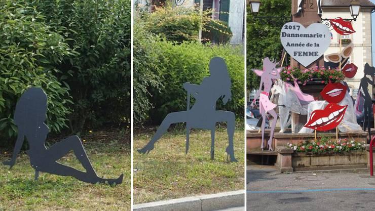 Silhouetten im Dorf Dannemarie sollen verschiedene Frauentypen repräsentieren. Völlig sexistisch, finden die einen. Völlig in Ordnung, finden die Anderen.
