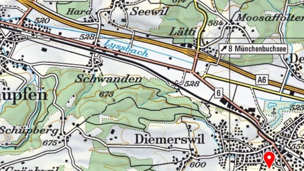 In diesem Gebiet zwischen Münchenbuchsee und Schüpfen wurden bis zu 400 Mikrogramm Uran pro Liter Wasser gemessen.