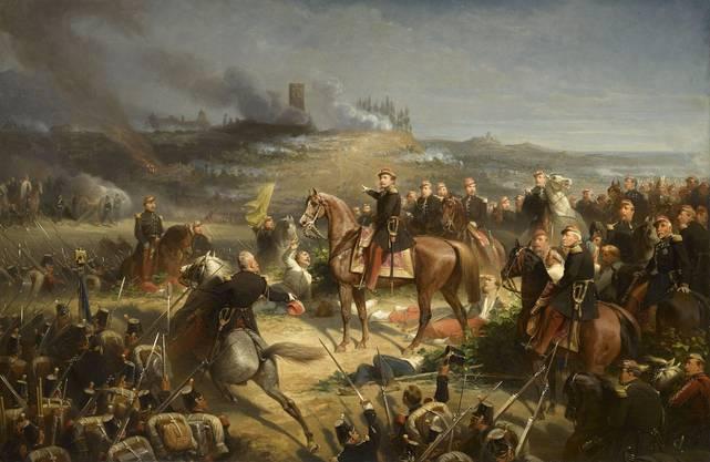 Napoleon III. weist seine Garde unter Marschall Regnaud zum Sturm gegen Solferino an