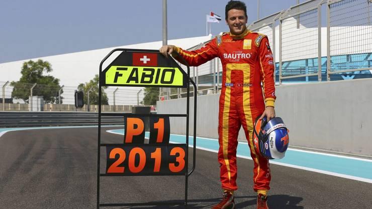 GP2-Weltmeister Fabio Leimer. Hier am Ort des Triumphs, in Dubai.