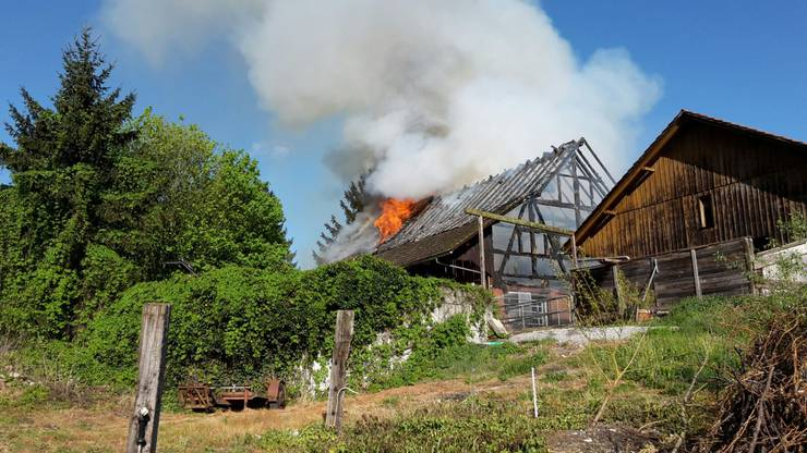 Im Neuhof wütet am Montagmorgen ein Grossbrand.