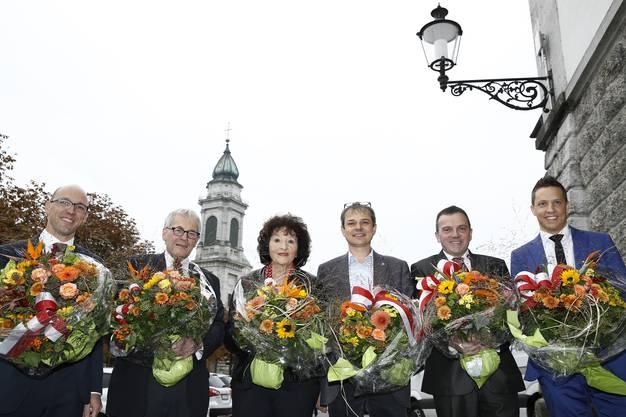 Diese Solothurner Politiker waren die letzten vier Jahre Nationalrat: Stefan Müller-Altermatt, Kurt Fluri, Bea Heim, Philipp Hadorn, Walter Wobmann und Christian Imark. Bea Heim ist die einzige, die nicht mehr antritt. (Archiv)