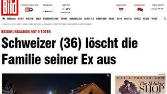 Screenshot der deutschen Bild-Zeitung.