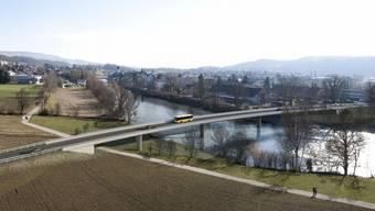 Eine Visualisierung der geplanten Umfahrungsbrücke. Im Hintergrund Mellingens Altstadt.