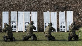 Soldaten während einer Schiessübung (Archiv)