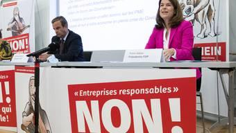 Sie werben gemeinsam für ein Nein: CVP-Präsident Gerhard Pfister und FDP-Präsidentin Petra Gössi.