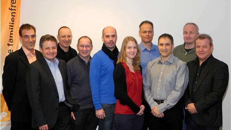 Das Team für die CVP: (v.l.) Marco Crivelli, Andreas Kummer, Mike Brotschi, René Lipp, Matthias Meier-Moreno, Andrea Heiri, Jürg Allemann, Carmelo Insalaco, Paul Brotschi, Markus Böhi. Es fehlt: Thomas Marti.