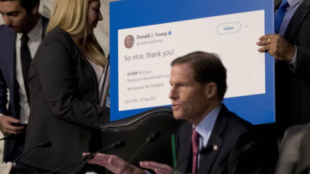 Rechtsvertreter von US-Internetkonzernen mussten Erklärungen zur möglichen Beeinflussung der US-Wahlen durch Russland vor dem US-Senat abgeben.
