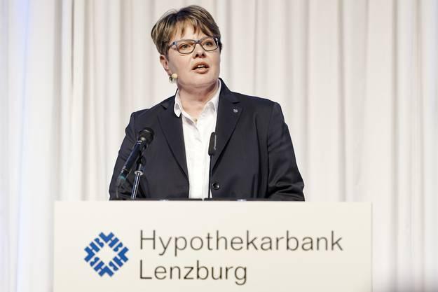 Marianne Wildi, Vorsitzende der Geschäftsleitung, erläutert die Ergebnisse 2018.